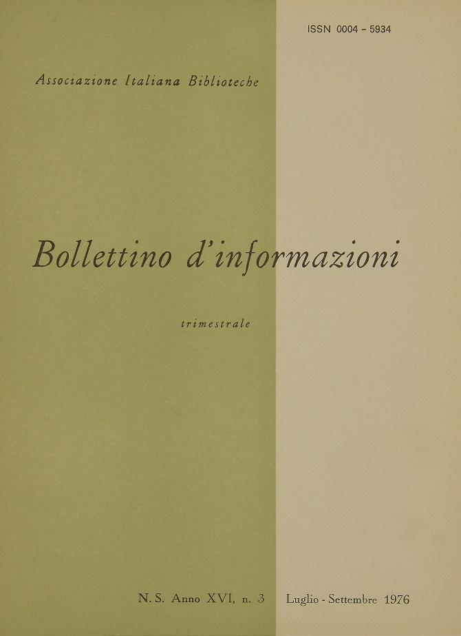 Visualizza V. 16 N. 3 (1976): Luglio-Settembre