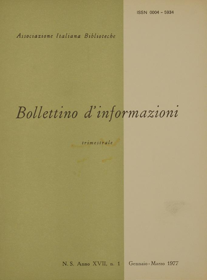 Visualizza V. 17 N. 1 (1977): Gennaio-Marzo