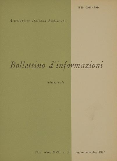 Visualizza V. 17 N. 3 (1977): Luglio-Settembre