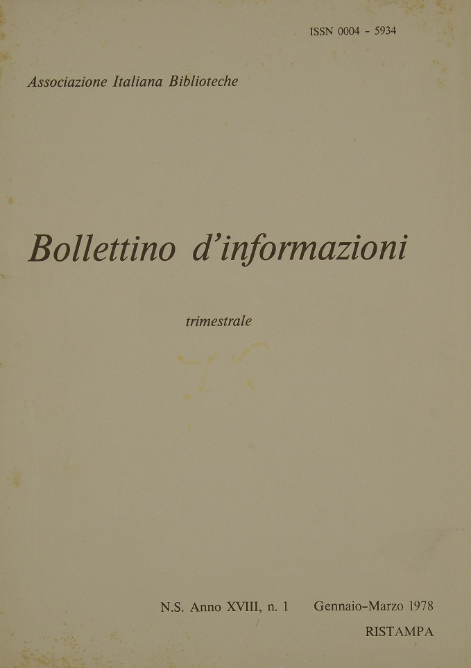 Visualizza V. 18 N. 1 (1978): Gennaio-Marzo