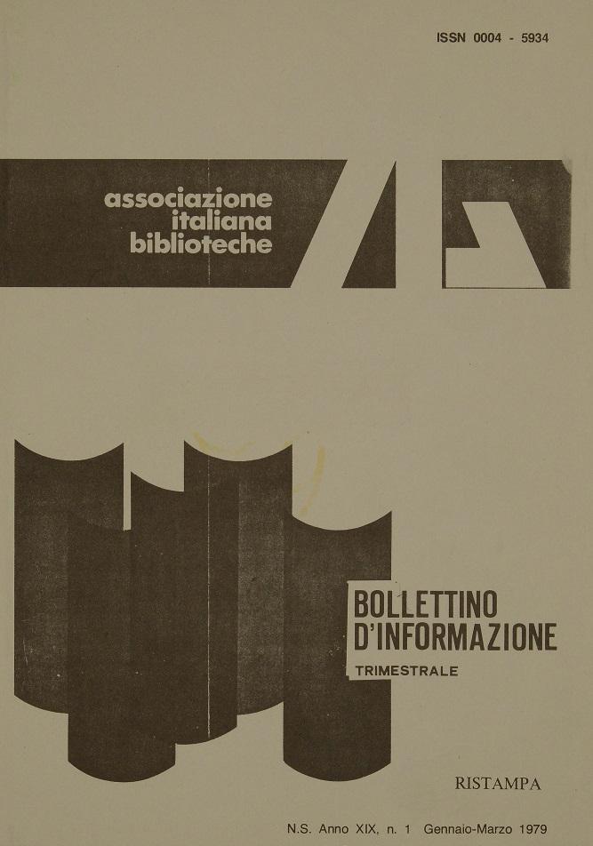 Visualizza V. 19 N. 1 (1979): Gennaio-Marzo
