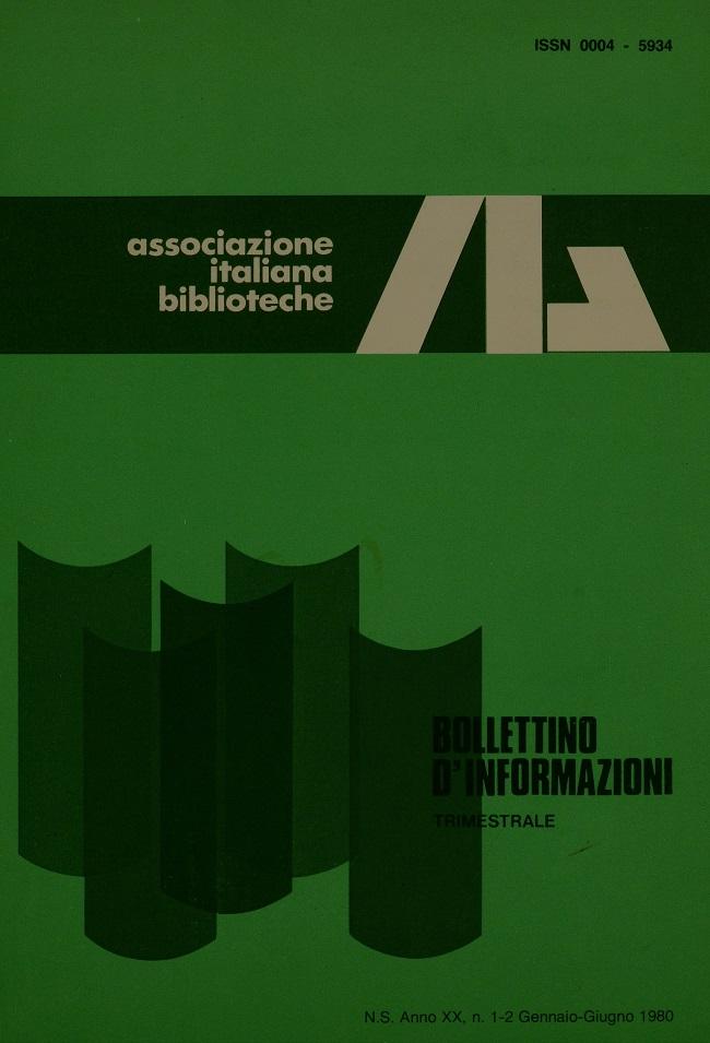 Visualizza V. 20 N. 1-2 (1980): Gennaio-Giugno