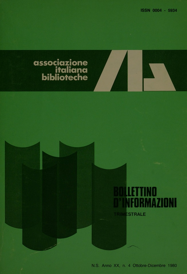Visualizza V. 20 N. 4 (1980): Ottobre-Dicembre