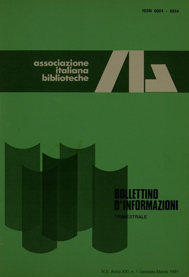 Visualizza V. 21 N. 1 (1981): Gennaio-Marzo