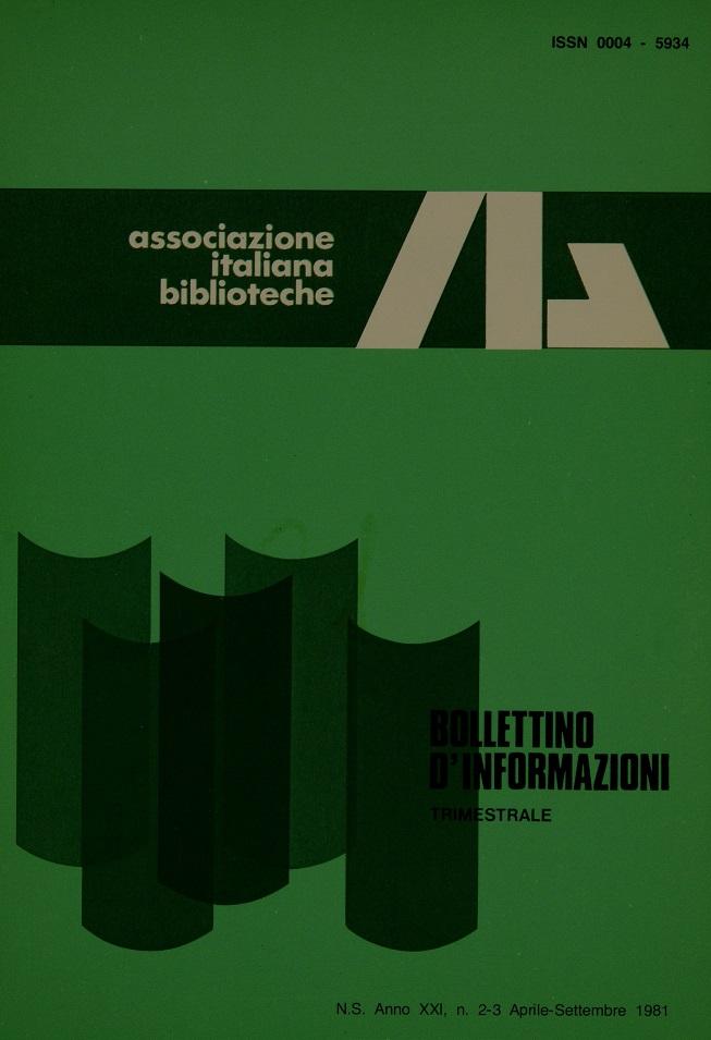 Visualizza V. 21 N. 2-3 (1981): Aprile-Settembre