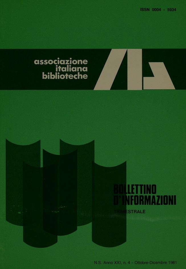 Visualizza V. 21 N. 4 (1981): Ottobre-Dicembre