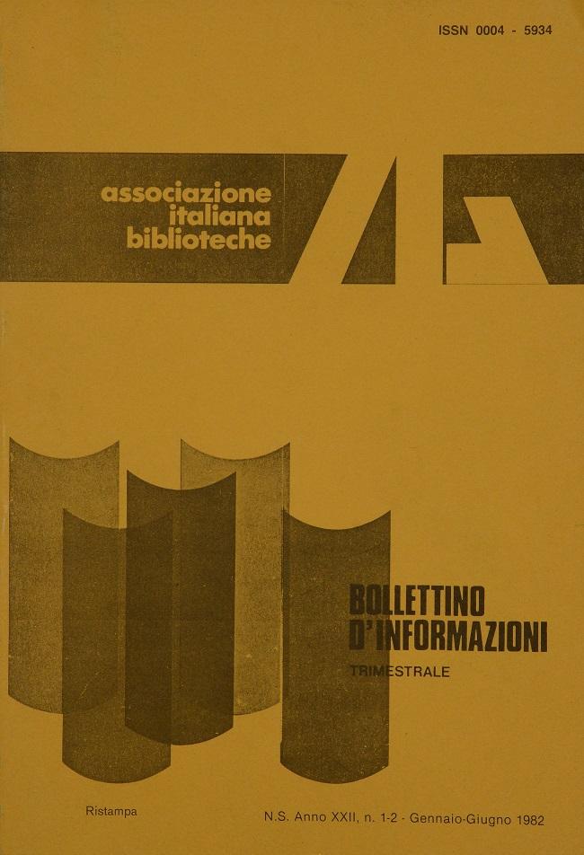 Visualizza V. 22 N. 1-2 (1982): Gennaio-Giugno