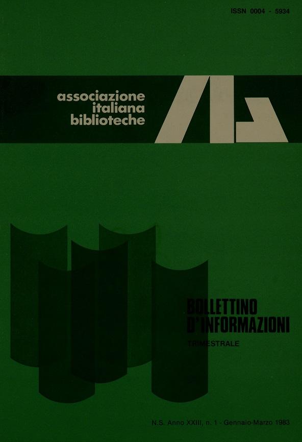 Visualizza V. 23 N. 1 (1983): Gennaio-Marzo