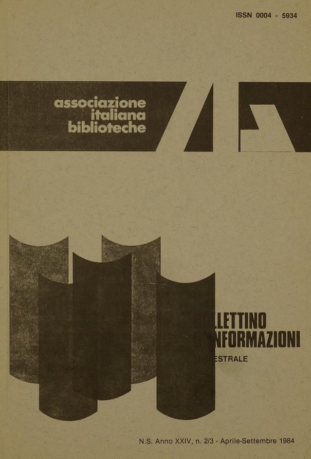 Visualizza V. 24 N. 2-3 (1984): Aprile-Settembre