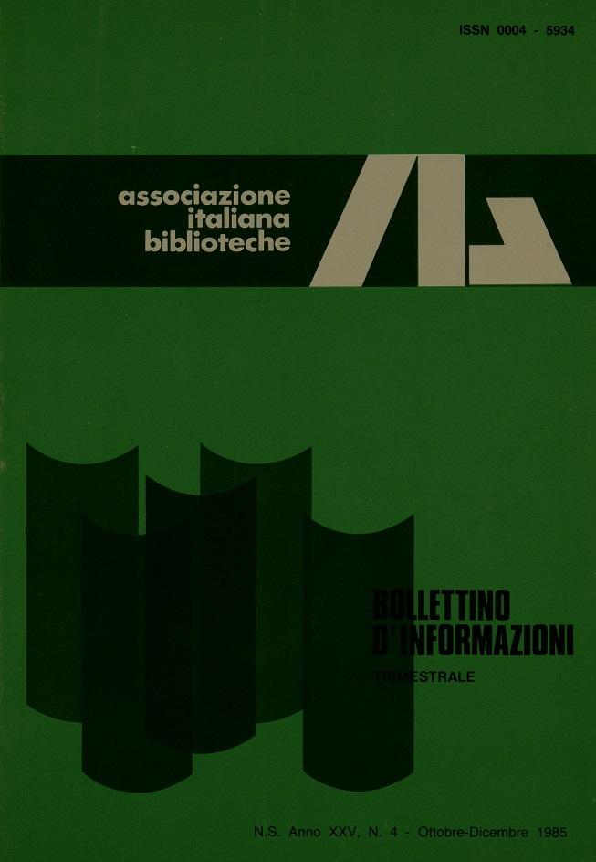 Visualizza V. 25 N. 4 (1985): Ottobre-Dicembre