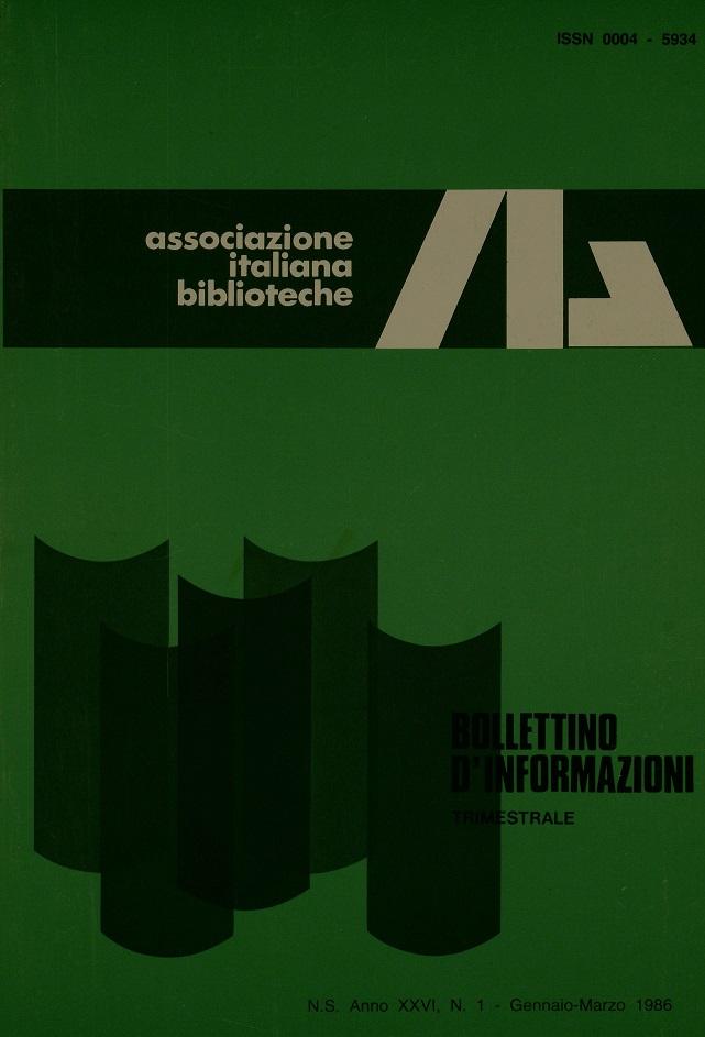 Visualizza V. 26 N. 1 (1986): Gennaio-Marzo