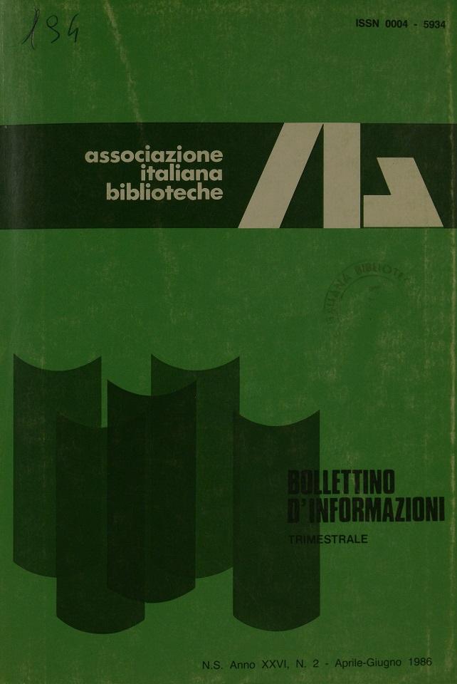 Visualizza V. 26 N. 2 (1986): Aprile-Giugno