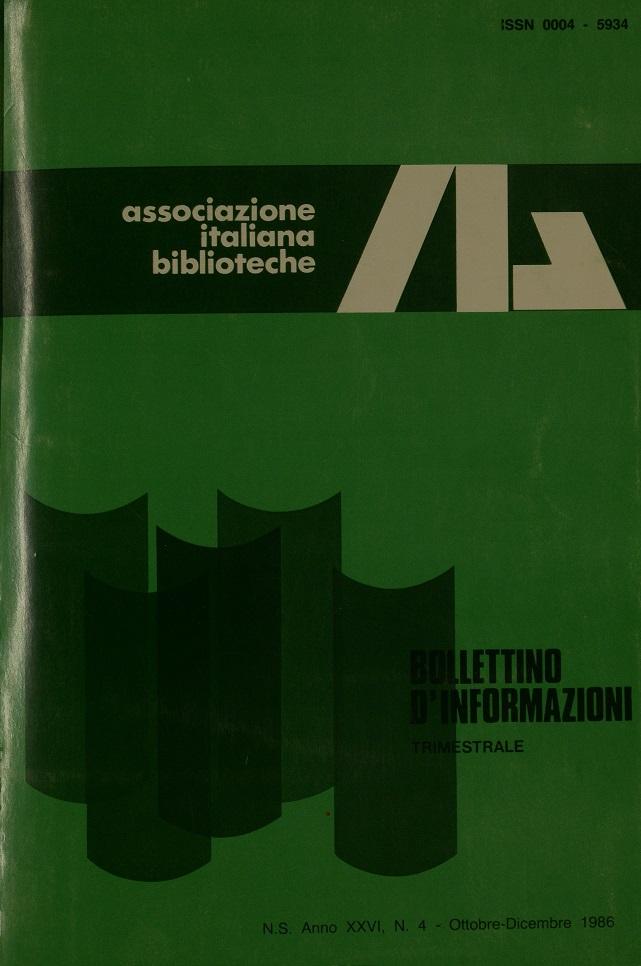 Visualizza V. 26 N. 4 (1986): Ottobre-Dicembre