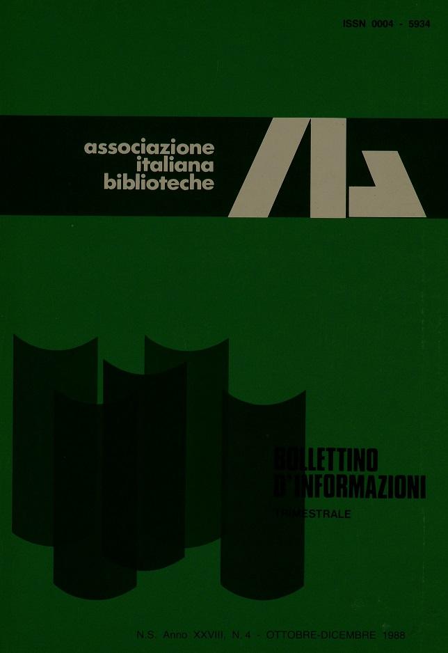 Visualizza V. 28 N. 4 (1988): Ottobre-Dicembre