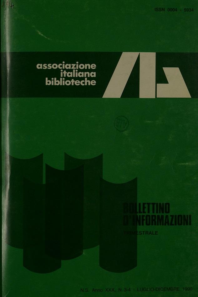 Visualizza V. 30 N. 3-4 (1990): Luglio-Dicembre