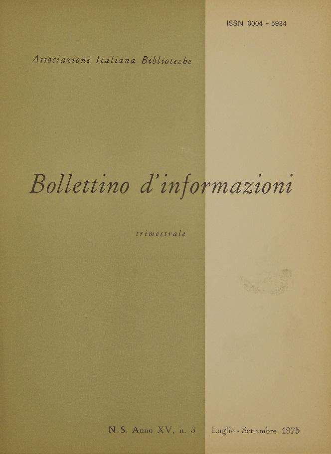Visualizza V. 15 N. 3 (1975): Luglio-Settembre